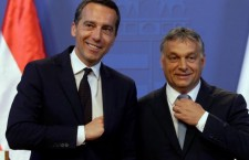 Austrian Chancellor Kern with Hungarian Prime Minister Orbán, in Budapest.