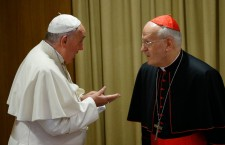 Cardinal Erdő (right) is silent in the migrant issue and frequently disagrees with Pope Francis (left).
