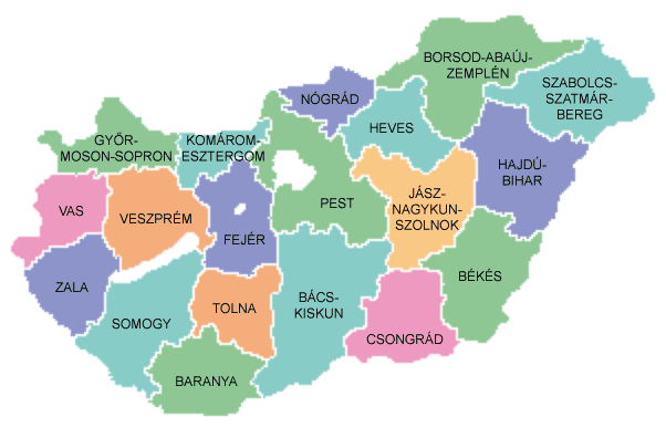 A map depicting Hungary's county. Győr-Moson-Sopron county and Vas county are bleeding away skilled labour to Austria and Slovakia at an alarming rate.