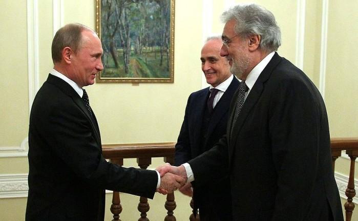 Russian President Putin and Placido Domingo.