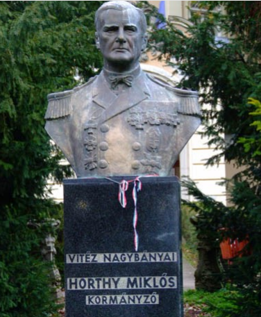 Horthy bust in Kenderes. Jász-Nagykun-Szolnok county.