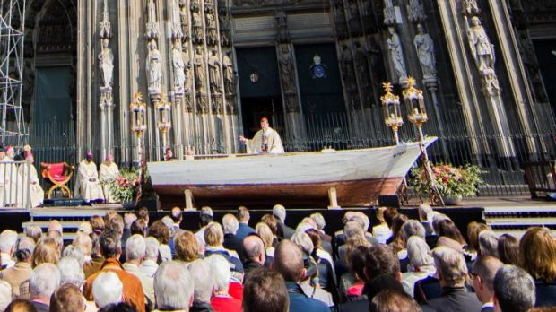 Cardinal Woelki in Cologne, Germany is using a refugee boat as a pulpit.