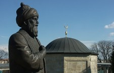 The statue and tomb of  Ottoman poet Gül Baba in Budapest. The tomb was constructed between 1543 and 1548.