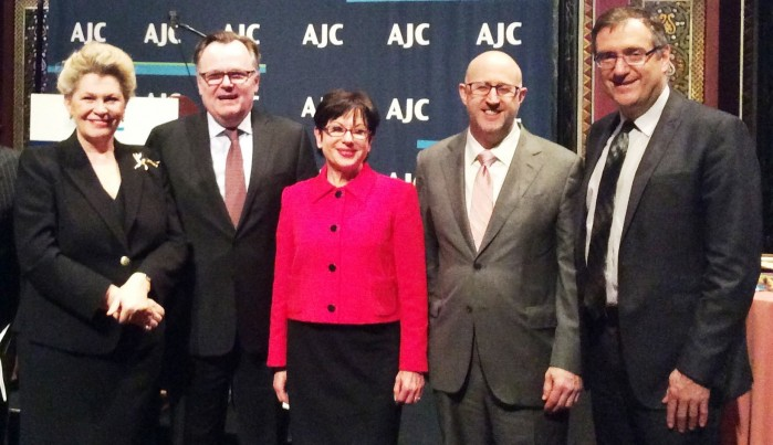 Ms. Katalin Bogyay, Hungary's UN Ambassador (far left) with AJC officials.