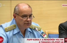 Hungary's national police chief, Károly Papp, speaks to reporters at a news conference Sunday evening, following the Saturday night explosion in Budapest. Photo: Screen shot from M1 live broadcast.