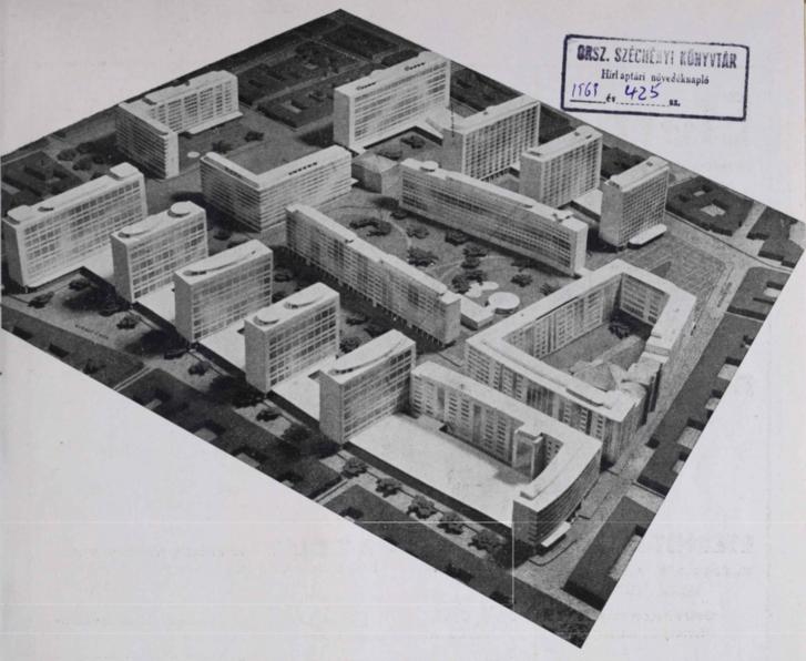 Central Budapest (Erzsébetváros) as imagined by József Fischer in 1946. Source: Tér és Forma / Arcanum.hu