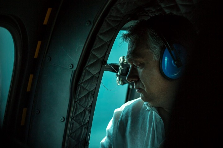 Prime Minister Viktor Orbán in a helicopter, inspecting the border between Hungary and Serbia from above. Photo: Facebook.