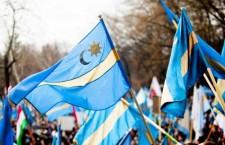 A sea of Szekler (székely) flags at a protest.