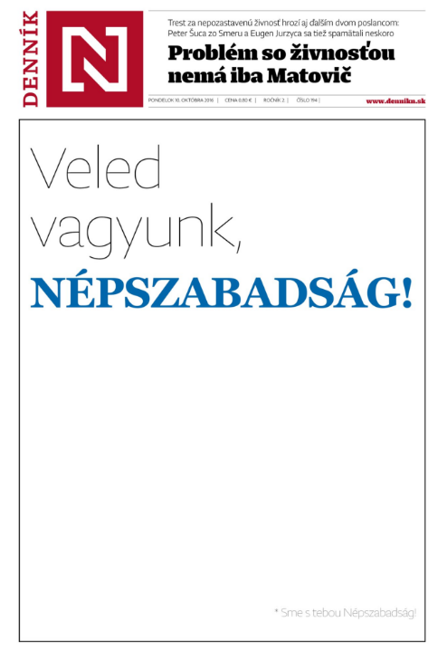 The cover page of Slovakia's Denník N on Monday.