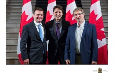 From Left to right: Tim Barber, Co-Founder of Canada2020., Justin Trudeau, Prime Minister of Canada, András B. Göllner, Founder, Canadian Hungarian Democratic Charter