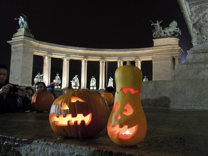 Carved pumpkins at Heroes Square, Budapest