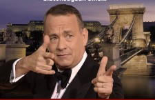 Tom Hanks, with the Budapest Chain Bridge in the background, featured on a pro-government propaganda poster.