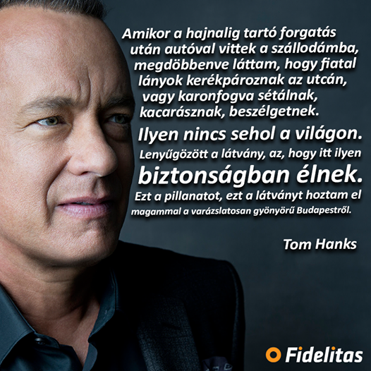 Tom Hanks featured on a pro-government propaganda poster produced Fidesz's youth wing, Fidelitas.