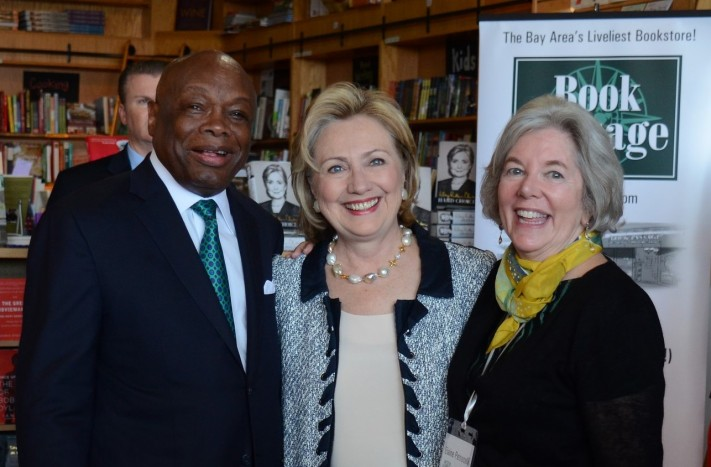 Willie Brown (left), Hillary Clinton (middle) in a San Francisco bookstore.