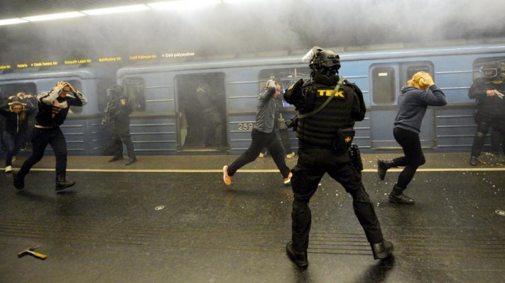 Simulated terrorist attack in a Budapest metro station.