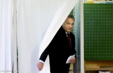"Prime Minister Viktor Orbán was among the first to cast a ballot in the national referendum on ""migrant quotas."" Photo: MTI."