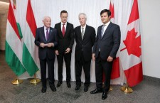Canada's Minister of Foreign Affairs, Stéphane Dion (third from the left) meets with Péter Szijjártó. Bálint Ódor is on the far-right.