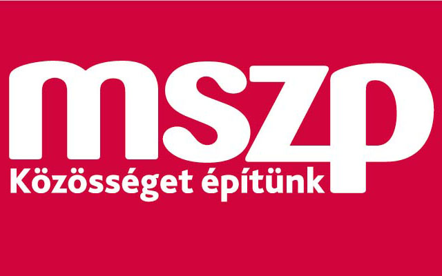 "MSZP's party logo, with the slogan ""we are building community."""