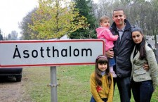 Mayor László Toroczkai with his wife and children, at Ásotthalom town limits.