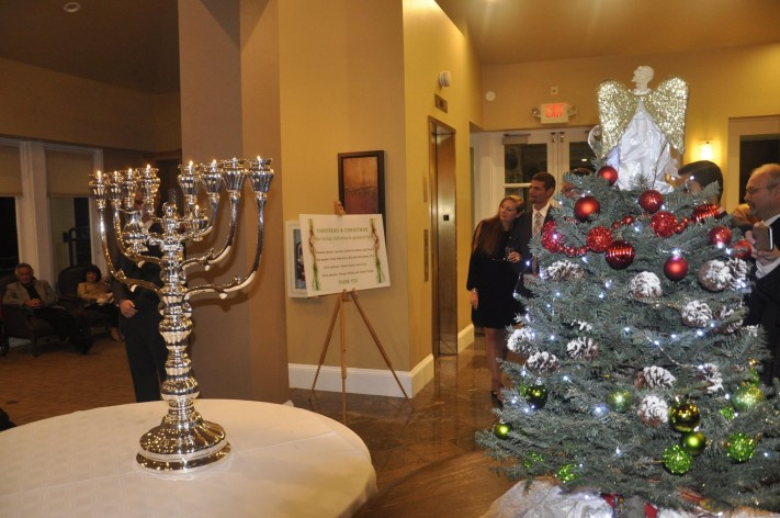 Hanukkah Menora and Christmas tree at the Hungarian Consulate in Los Angeles.