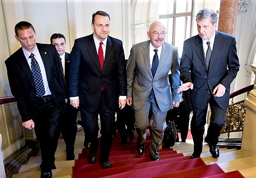 2010 - Radoslaw Sikorski (second from left) Polish and János Martonyi (third from left) Hungarian foreign ministers.  Not friends anymore.