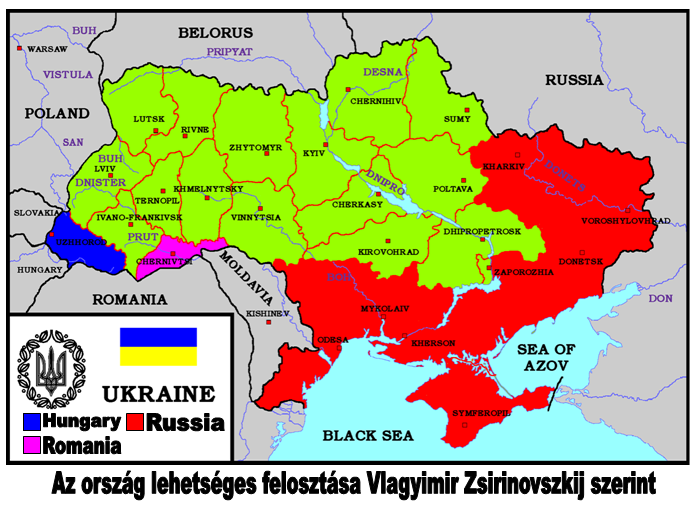 Photo: Map of Russian, Romanian and Hungarian territorial demands on Ukraine. (Distributed by Hungarian far-right activists.)