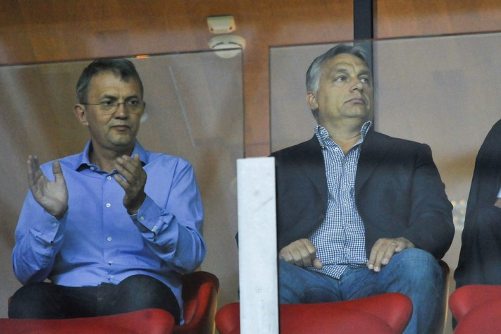 István Garancsi watching a football (soccer) game with Prime Minister Viktor Orbán in 2015. Photo: MTI.