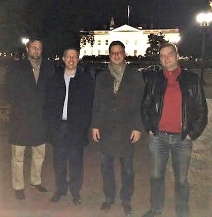Mr. Márton Gyöngyösi (Jobbik), Mr. András Schiffer (LMP), Mr. Gergely Gulyás (Fidesz) and Mr. Tamás Harangozó (MSZP) visiting the White House.