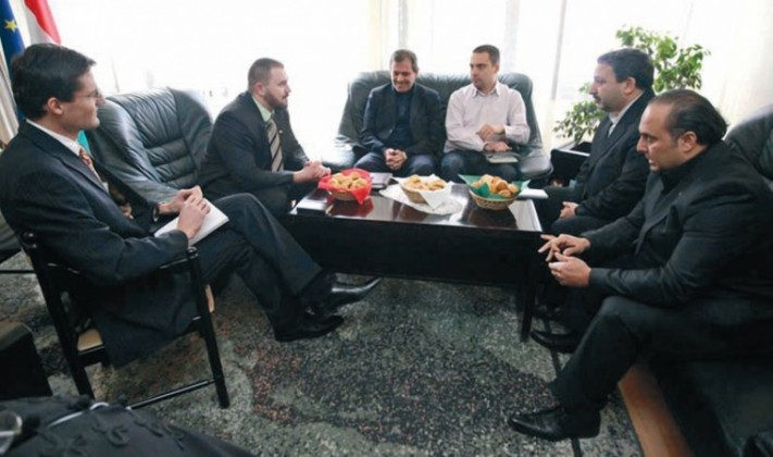 Mr. Gábor Vona. Jobbik party leader (in shirt), Mr. Gyöngyösi with Iranian politicians