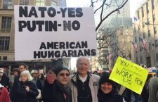 Béla Lipták, founder of the Hungarian Lobby demonstrated against Putin in New York.