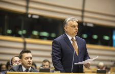 Viktor Orbán speaking in the European Parliament. Photo: MTI.