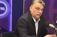 Viktor Orbán in Kossuth Rádió's studio on Friday morning.