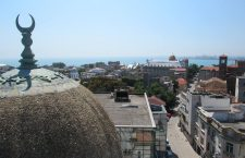 The view from the Great Mosque -- also called the Carol I mosque -- of Constanța and the Black Sea. Photo: Christopher Adam.
