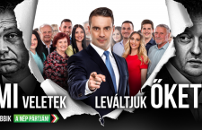 The new Jobbik billboard features Jobbik leader Gábor Vona in the middle, Viktor Orbán to the left and corruption-plagued Fidesz politician Antal Rogán to the right. The billboard reads: With you, we will remove them from power -- Jobbik: on the side of the people.""