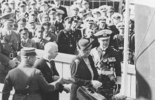 Madame Horthy inaugurates the ship, Hitler is watching far left.