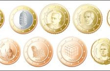 A proposed design for Hungarian euro coins by Anev Kámen.  This includes: the insignia of St. Stephen, the Hungarian national shield,  Albert Szent Györgyi, Lajos Kossuth, Béla Bartók, the parliament, the Puli dog breed, the Rubik cube and Ferenc Puskás.