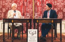 Sir Roger Scruton in Budapest with Mr. Marion Smith (right) of the Common Sense Society.
