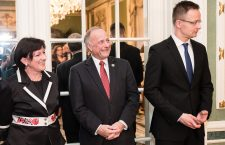 Ms. Szemerkényi, Mr. King (in the middle) and Mr. Szijjártó at the opening of the new Hungarian Embassy in Washington DC.