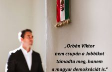 Gábor Vona, a hungarian flag and the words: Viktor Orbán has not only attacked Jobbik, but also Hungarian democracy.
