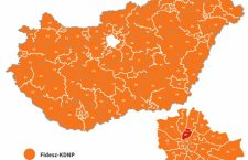 The projection shows Fidesz winning all but one of Hungary's single constituency ridings.
