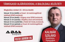 Szilárd Kalmár and the dates/times and locations where he is collecting signatures this week.