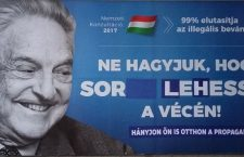 Hungarians deface a government anti-Soros billboard. It now reads: Don't let there be a line-up at the toilet. Vomit from the government propaganda at home!""