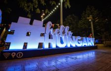 The HelloHungary sign in Central Budapest