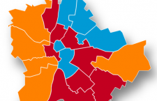 Republikon predictions for Budapest. Orange: Fidesz, Red: MSZP-P and blue: DK.