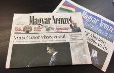 Magyar Nemzet, with the news of Jobbik leader Gábor Vona resigning on its cover.