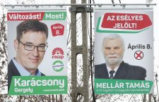 Election signs for Mr. Karácsony and the MSZP-Párbeszéd supported candidate in Pécs.