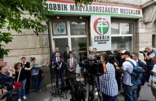 László Toroczkai in front of Jobbik party offices on Bécsi út, in Budapest. Photo: MTI.