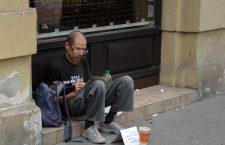 A homeless man on Central Budapest's Andrássy út.