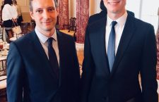 "Hungary's Mr. Tristan Azbej (left) claims that he discussed a ""joint US-Hungarian humanitarian action"" with Jared Kushner.  The White House didn't confirm."