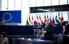 Viktor Orbán addressing the European Parliament on Tuesday.